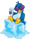 Penguin On Ice — Stock Vector