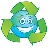Earth Cartoon With Recycle Symbol — Stock Vector