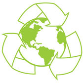 Planet Earth With Recycle Symbol — Stock Vector