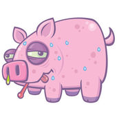 Cartoon Swine Flu Pig — Stock Vector