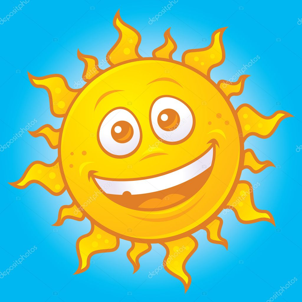 Vector cartoon drawing of a happy summer sun. — Stock Vector #1507447