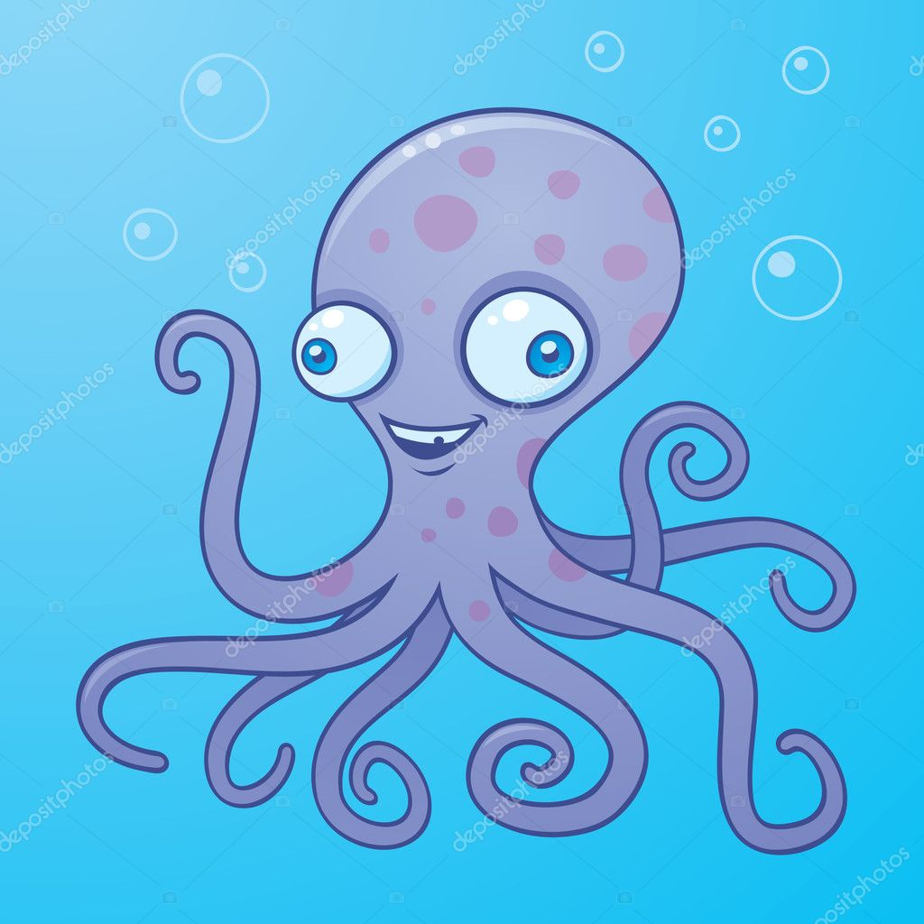 Vector cartoon illustration of a happy octopus in the water with bubbles.  — Stock Vector #1507461