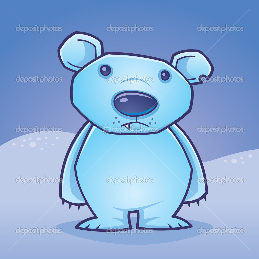 Cute polar bear cub standing in a snow covered landscape drawn in a humorous cartoon style.  — Stock Vector #1507467