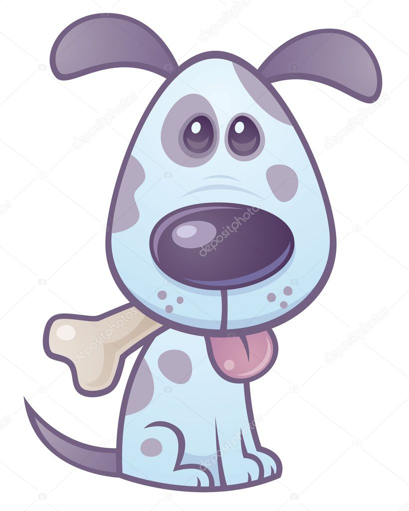 Vector cartoon illustration of a cute puppy dog with a bone in his mouth and tongue sticking out.  — Stock Vector #1507471