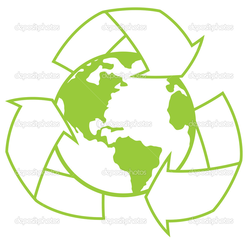 Vector illustration of planet Earth surrounded by a recycle symbol. Great icon for going green design.  — Stock Vector #1507478