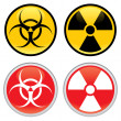 Biohazard and Radioactive Warning Signs - Stock Vector