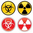 Biohazard and Radioactive Warning Signs — Stock Vector