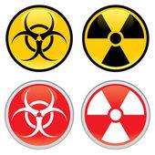Biohazard and Radioactive Warning Signs — Stock Vector