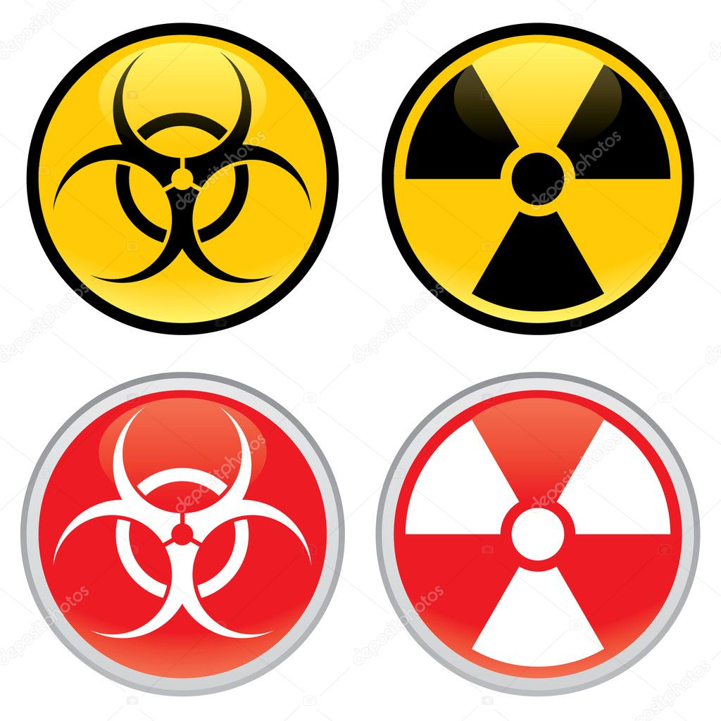 Shiny biohazard and radioactive warning signs and symbols. — Stock Vector #2612365