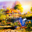 Landscape painting - Stock Photo