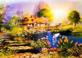Landschap schilderij — Stockfoto