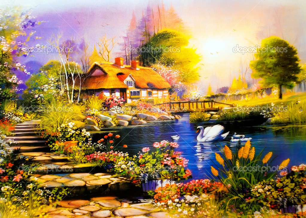 Landscape painting a house near the lake swans — Photo #1489670