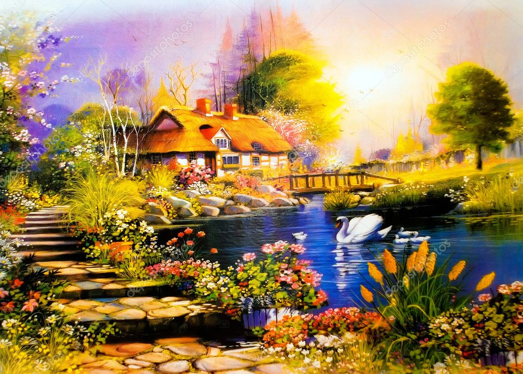 Landscape painting a house near the lake swans — Lizenzfreies Foto #1489670