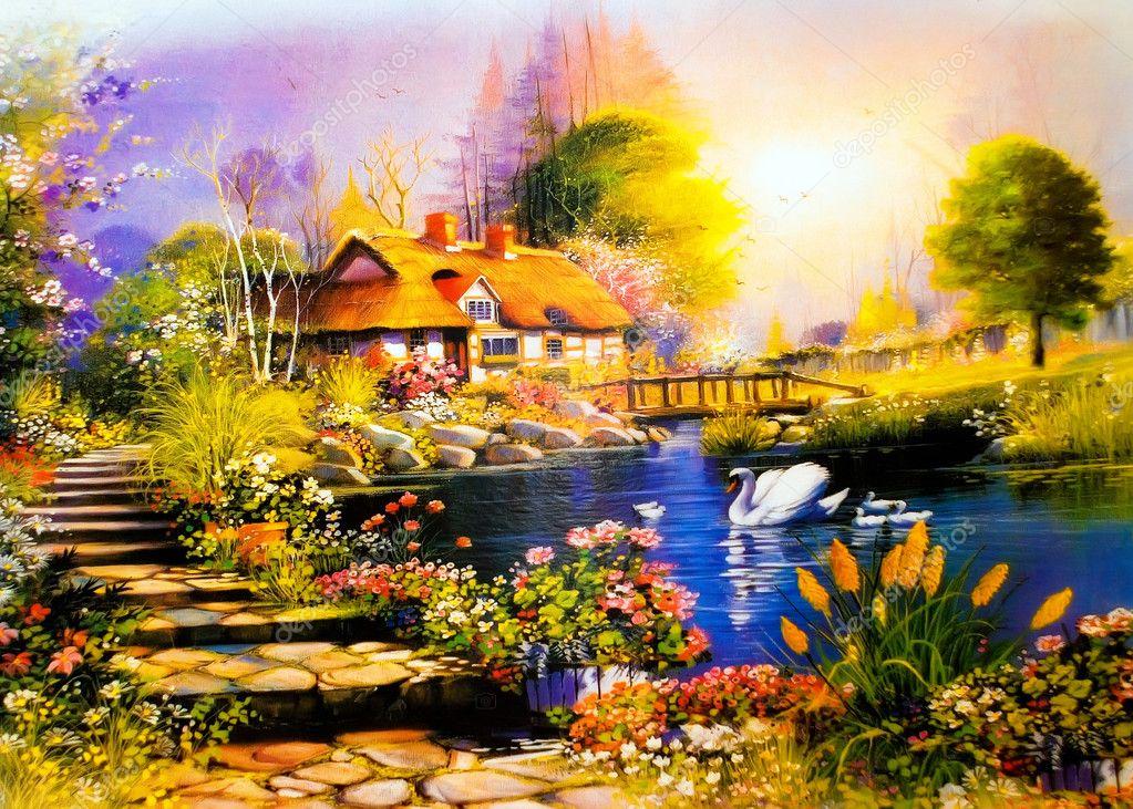 Landscape painting stock photo vasmedia 1489670 - Casitas de campo ...