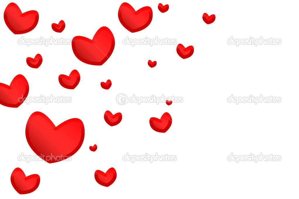 Red hearts isolated on white background — Photo #1468599