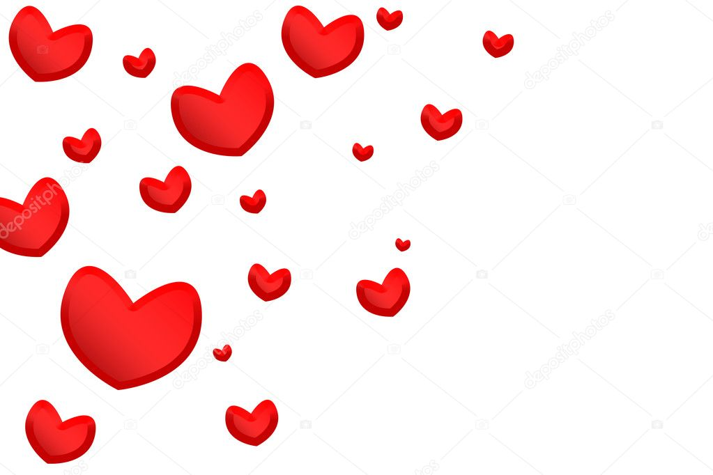Red hearts isolated on white background — Stock Photo #1468599
