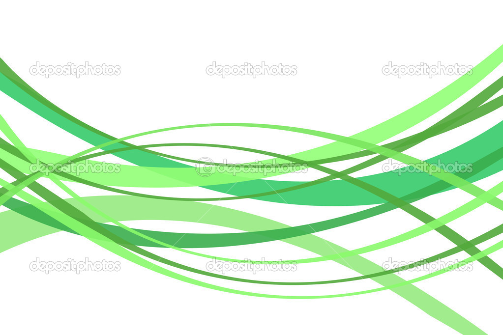 Green curved lines isolated on white background — Photo by Anechka