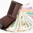 Different money with wallet — Stock Photo