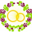 Two rings with roses — Vector de stock