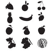 Silhouettes de fruits. — Vecteur
