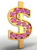 Golden dollar embellished — Stock Photo