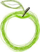 Manzana verde — Vector de stock