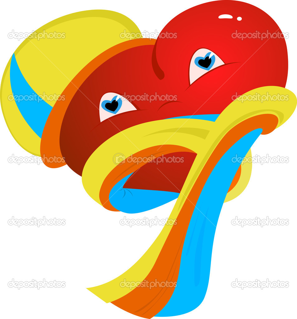 Happy Heart in scarves and caps. Vector illustration  Stock Vector #2473934