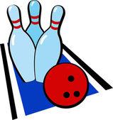 Bowling ball and falling bowling pins. — Stock Vector