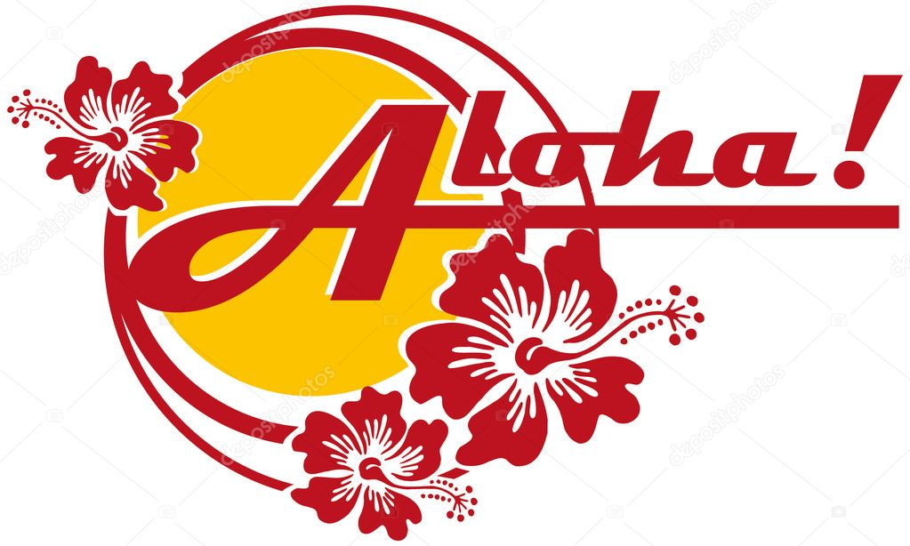 Vectorial on Hawaiian themes with inscription Aloha!. Work can used such as logo. — Stock Vector #1466693