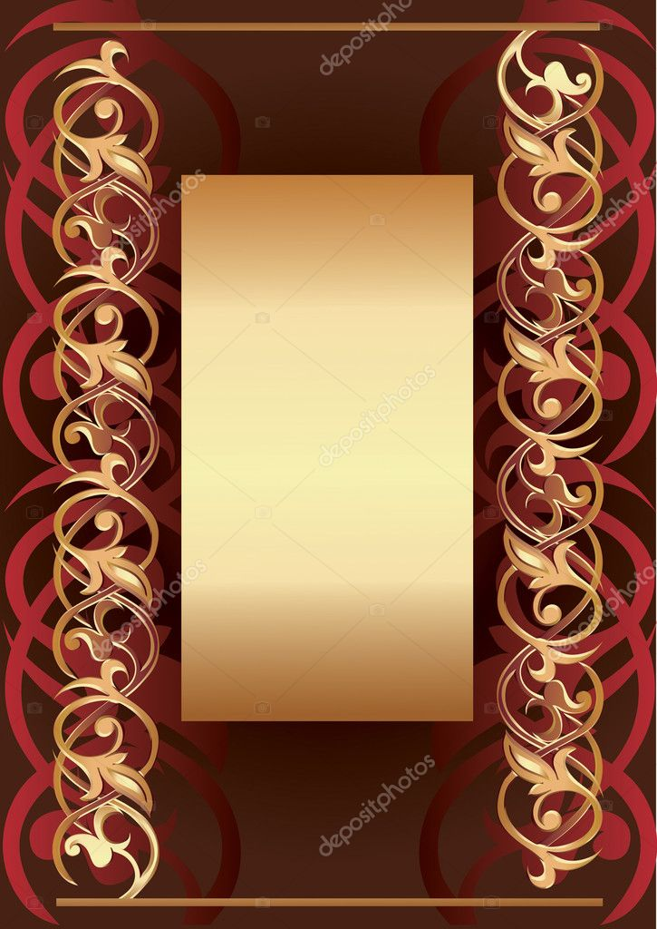 Vectorial background with golden frame for text — Stock Vector #1466842