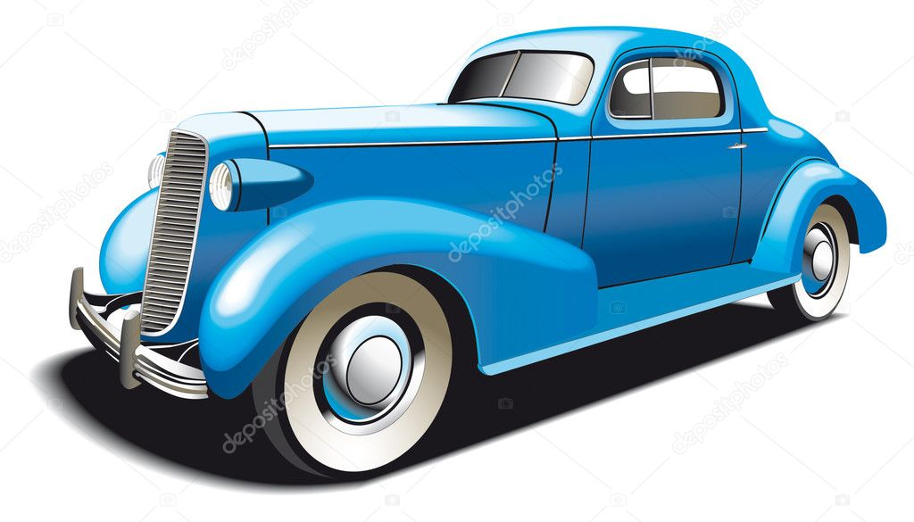 Vectorial image of blue vintage car. Contains gradients and blends. — Stock Vector #1466971
