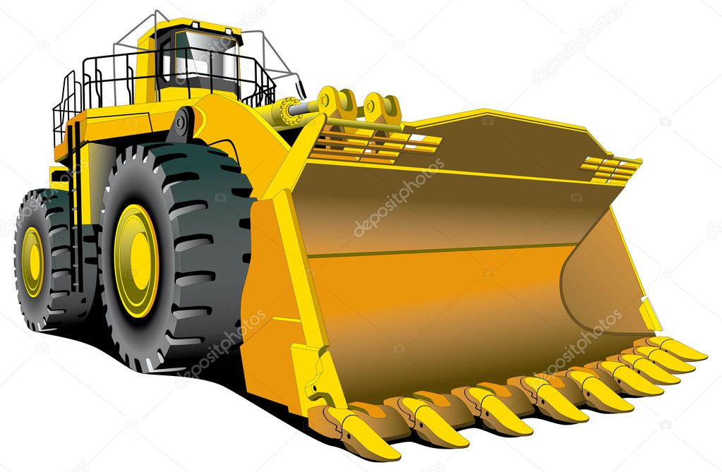 Detailed vectorial image of large dozer isolated on white background — Stock Vector #1467098
