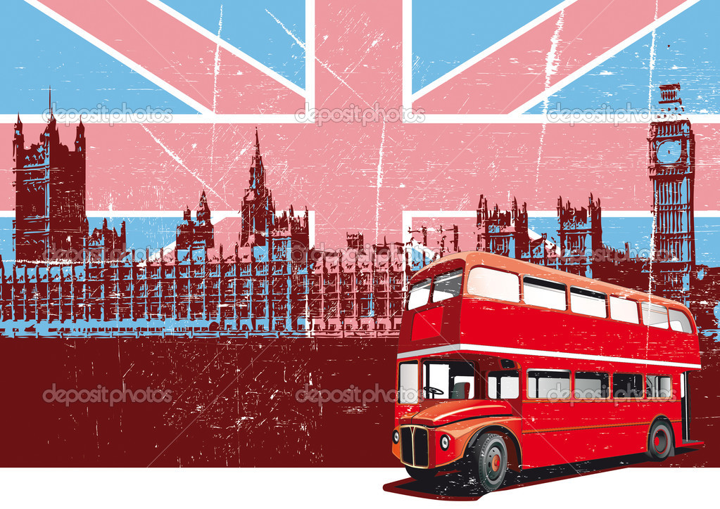 Grunge background with image of double decker bus and Houses Of Parliament on background English symbolism — Stock Vector #1467133