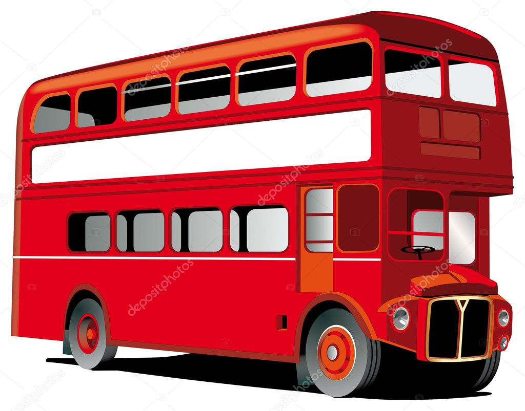 London double decker bus isolated on white with white frame for Your text — Stock Vector #1467873