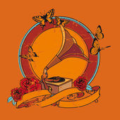 Ročník medailónek s gramofon a růže — Stock vektor