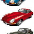 Retro english sport car set - Stock Vector