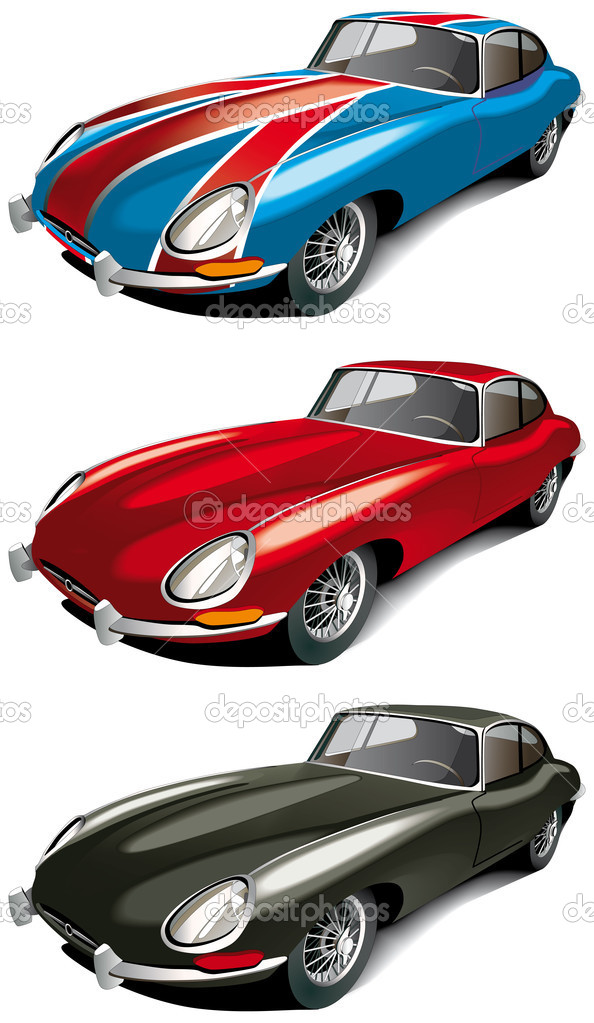 Vectorial icon set of retro English sport car (Jaguer E-type 1965 year) isolated on white backgrounds. Every car is in separate layers. File contains gradients  — Stock Vector #1495027