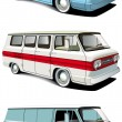 Stock Vector: Retro van set