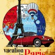 Vacation in Paris grunge - Stock Vector