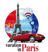 Férias em paris — Vetor de Stock