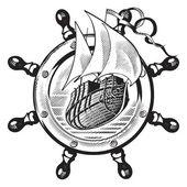 Ship & wheel_engraving — Stock Vector