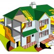 House in section - Stock Vector