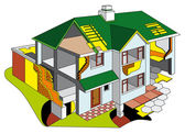 House in section — Stock Vector