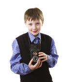 Boy with camera — Stok fotoğraf
