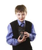 Chłopiec z aparatu — Zdjęcie stockowe
