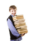 Boy with a Stack of books — Stock fotografie