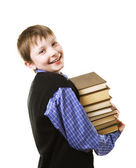 Boy with a Stack of books — Stok fotoğraf