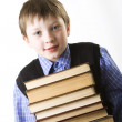 Boy with a Stack of books — Lizenzfreies Foto