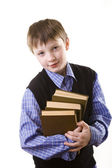 Boy with a Stack of books — Foto Stock