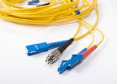 Cabos de fibra óptica rede — Foto Stock